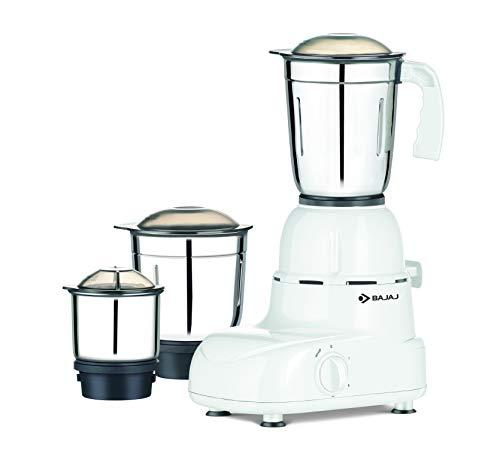 Bajaj Glory 500-Watt Mixer Grinder with 3 Jars (White)