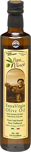 Papa Vince Olive Oil Extra Virgin First Cold Pressed Family Harvest 2020/21 made in Sicily, Italy. NO PESTICIDES NO GMO, Keto Whole30 Paleo Unrefined Good Fat High Polyphenol, Subtle Peppery Finish