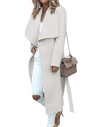 Minetom Damen Trenchcoat Mantel Herbst Winter Elegante Öffnen Lange Blazer Jacke Parka Frauen Cardigan Outwear mit Wasserfall Schnitt A Weiß 42