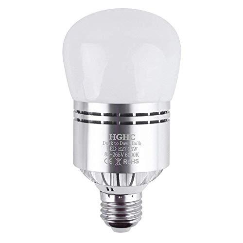 Bombillas Sensor Crepuscular, E27 Sensor de Luz LED 15W Blanco Fría 6000K Anochecer Hasta el Amanecer Sensor Interruptor Bombillas Para el Porche Cochera Aire Libre