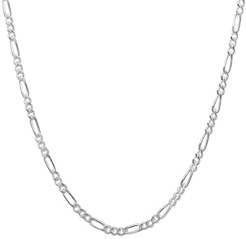 Collar de cadena de plata de ley 925 italiana de 1,6 mm, 2 mm, resistente para hombres y mujeres – extra