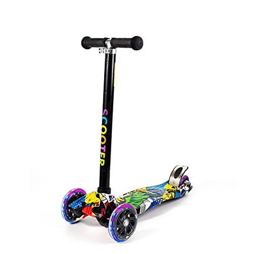JZLS Scooter for Kids, Adjustable Height 3 Wheel Deluxe Kids Scooter, Tilt Steering, Extra Wide Deck, LED Flashing Wheels, 3-14 Year Old Kids Gift Boys Girls Toddler Scooter