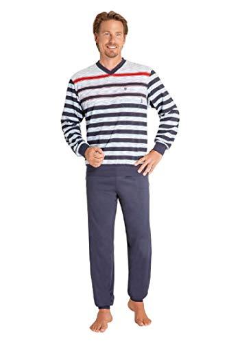 hajo Herren Schlafanzug zweiteilig - Klima Komfort - mit V-Ausschnitt, Farbe:Marine (609), Größe:52