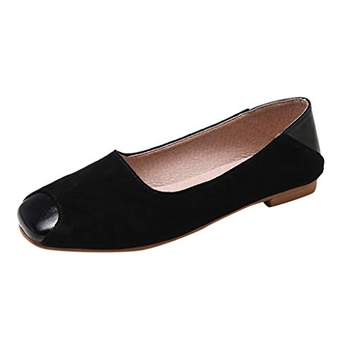 Damen Geschlossene Ballerinas Wildleder Flache Schuhe in weiter Passform, Frauen Mokassins Bequeme Loafer Elegante Slipper Casual Slip-Ons Damenschuhe Celucke (Schwarz, 37 EU)
