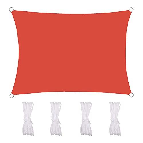 MEEYI Sonnensegel Wasserdicht 4X5m Sonnenschutz Segeltuch 95% Beschattung UV Schutz Wetterschutz Wasserabweisend Windschutz & Tear Resistant Für Garten Terrasse Schwimmbad, Rot