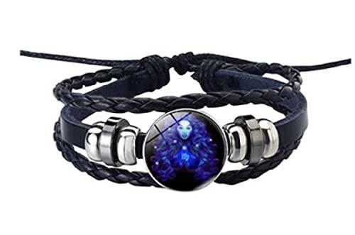 MRZJ Pulsera de piel con signo del zodiaco 12 constelaciones, para hombre y mujer, con abalorios, accesorio de regalo, pulsera punk ajustable trenzada (peces, talla única) Virgo