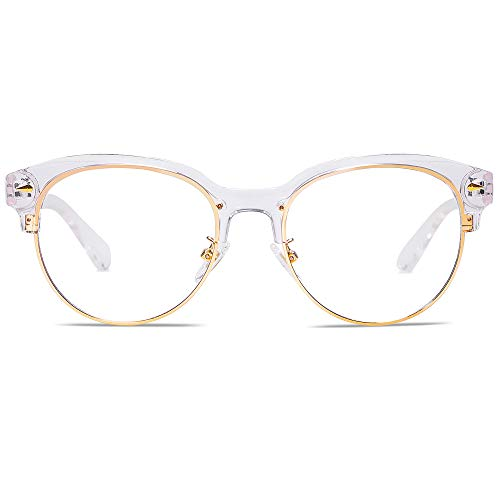 SOJOS anteojos de bloqueo de luz azul semi sin montura para hombres y mujeres, con borde de cuerno SJ5064, Marco de cristal C4., Medio