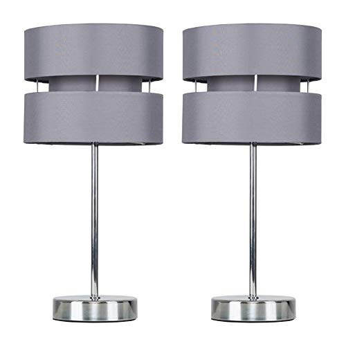 Pair of - Modern Silver Chrome Touch Table Lamps with Grey Shades