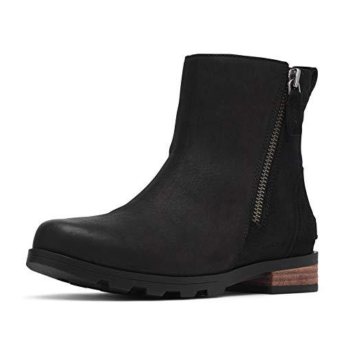 Sorel Womens Emelie Zip Outdoor Waterproof Winter Ankle Leather Boots - Black - 8.5
