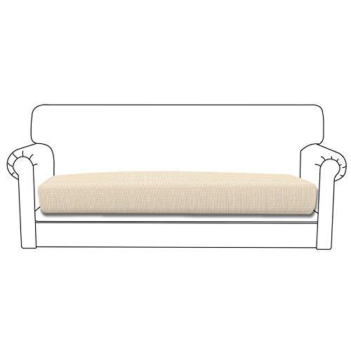 Funda de cojín elástica Easy-Going para sofá o sofá, funda para sofá y sofá, suave flexibilidad con parte inferior elástica (cojín de sofá, marfil)