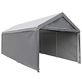 Abba Patio Extra Large Heavy Duty Carport with Removable Sidewalls Portable Garage Car Canopy Boat Shelter Tent for Party Wedding Garden Storage Shed 8 Legs 10 x 20 Feet Dark Grey