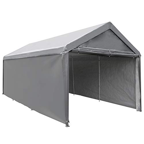 Abba Patio Extra Large Heavy Duty Carport with Removable Sidewalls Portable Garage Car Canopy Boat Shelter Tent for Party, Wedding, Garden Storage Shed 8 Legs, 10 x 20 Feet, Dark Grey