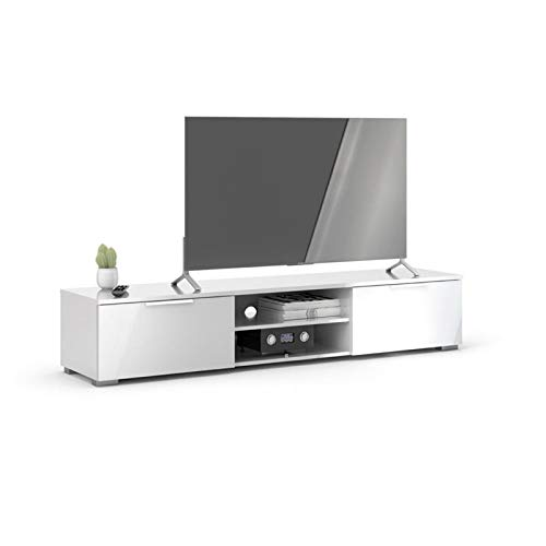 Pemberly Row 67' Modern TV Stand with Storage in Glossy White