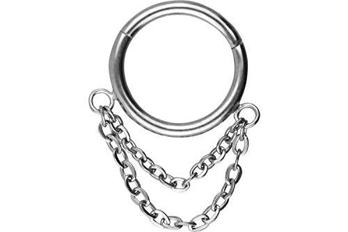 PIERCINGLINE Chirurgenstahl Segmentring Clicker 2 Ketten | Piercing Ring Helix Tragus | Farbauswahl