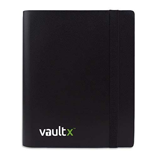 Vault X ® Sammelkarten-Album - 4 Fächer Sammelkarten Trading Cards Mappe - 160 Fächer mit Seitenöffnung für Spielkarten zum sammeln und tauschen (Schwarz)