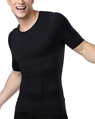 Mengmiao Camiseta Faja Abdominal Entallada Reductora Moldeadora Adelgazante para Hombre Negro L