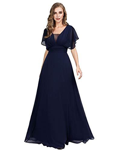 Ever-Pretty Vestito da Damigella Donna Chiffon Linea ad A Scollo a V Maniche Corte Stile Impero Lungo Blu Navy 44
