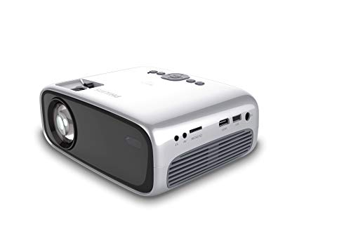 Philips NeoPix Easy Mini Video Projector, 80 Inch Display, Built-in Media Player, HDMI, USB, microSD, 3.5mm Audio Jack