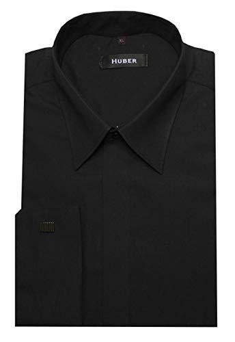 HUBER Manschettenhemd schwarz M