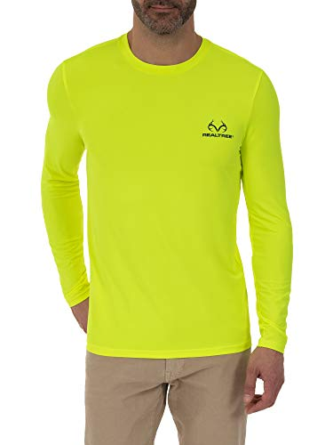 Realtree Men's Moisture Wicking Long Sleeve Performance Shirt with Insect Repellent, Large Acid Yellow