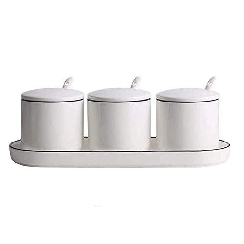 COOLSHOPY Cerámica Blanca azúcar Cuencos de condimentos Ollas Tarros Condimentos Sistema de la Caja con la Tapa de la Cuchara y la Bandeja-Conjuntos de 3 Castor