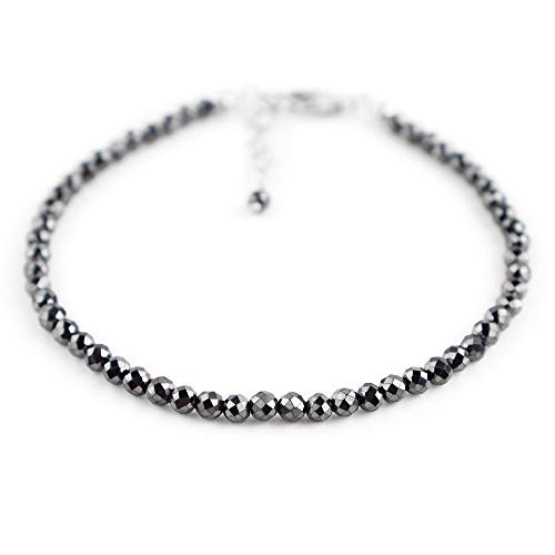 Pulsera de cuentas completas de hematita natural para mujer, con cristales de curación de piedra natal en cadena chapada en plata de 8 pulgadas, 'piedra de energía positiva', 3 mm - IFGART-76