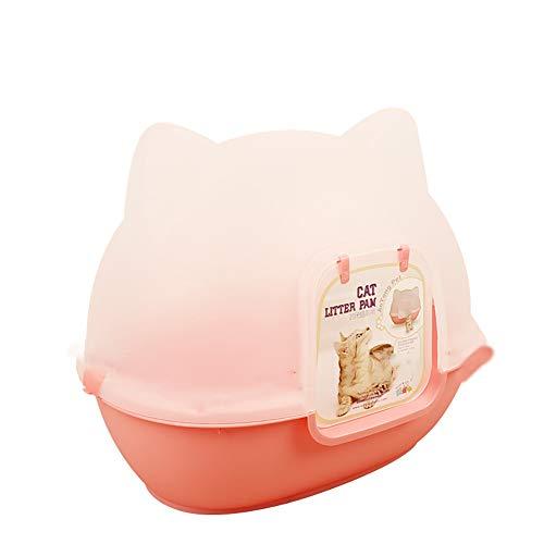 Caja de Arena para Gato Cerrado Cajón Encantador Aseo Gatitos Antiolor Ecológico Abertura Frontal Fácil de Limpiar WC Inodoro,Pink