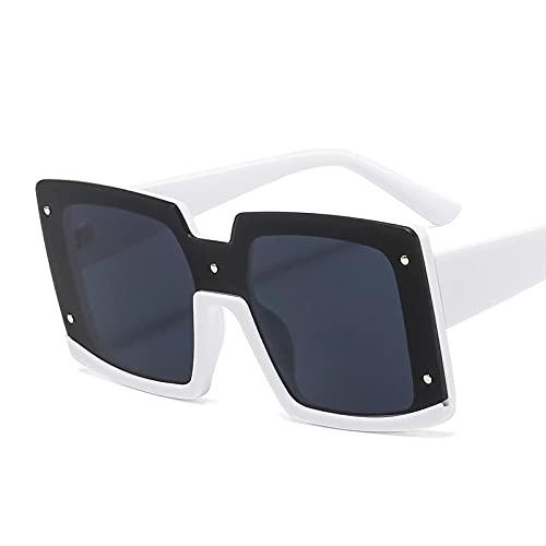 ShZyywrl Gafas De Sol De Moda Unisex Gafas De Sol Cuadradas Vintage A La Moda para Mujer, Montura De Doble Color De Gran Tamaño, Gafas De Sol Negras Y Rojas Pa