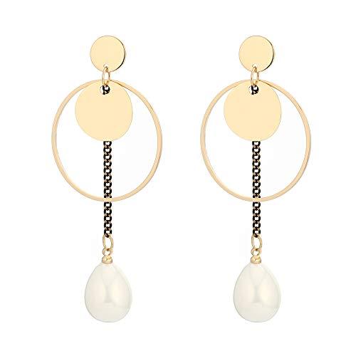 Pendientes de mujer, colgantes de anillo circular de cobre con perlas de estilo bohemio, pendientes de oro plateado, regalos encantadores y de moda