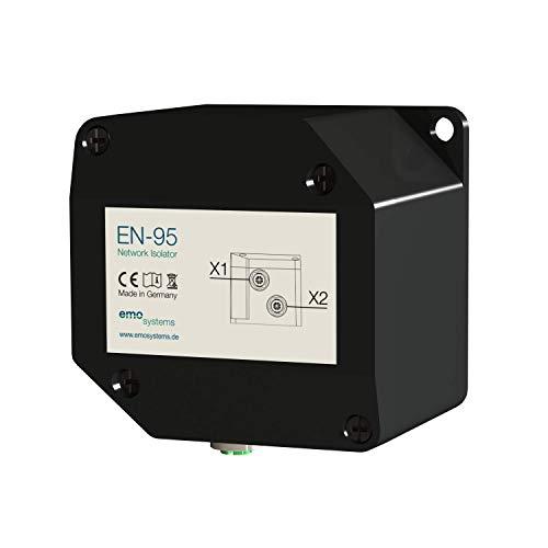 EN-95 Netzwerkisolator, Standalone, M12X, galvanische Trennung, 1000 Mbit/s, Class D, IP65, TVS-Dioden, Überspannungsschutz, Schwarz, Kunststoffgehäuse