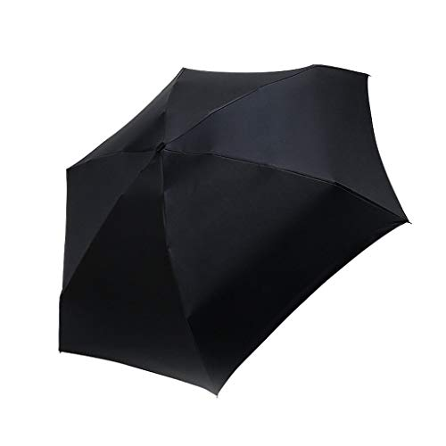 Gaddrt Mini Sonnenschirm Flacher Leichter Regenschirm Sonnenschirm Faltbarer Sonnenschirm Regenschir (Black)