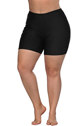 ALove Women Boyleg Swim Bottom Shorts Plus Size High Waist Swimsuit Bottom Black 3X