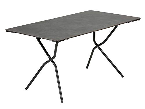 Lafuma Table de jardin rectangle, 139 x 79 cm, 4-6 places, Pliable, Protection intempéries, Anytime, Couleur: Volcanic, LFM2716-8232