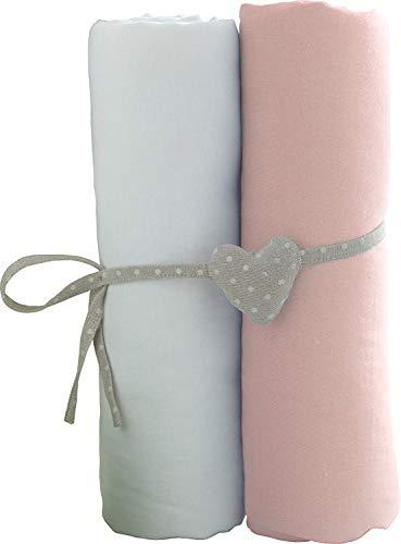 Lot de 2 draps housse Blanc/Rose Babycalin - 70x140 cm
