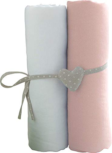 Lot de 2 draps housse Blanc/Rose Babycalin - 70x140 cm