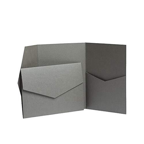 Pocketfold Invites Ltd Einladungskarten, 130 x 185mm, Perlglanz, Platingrau grau