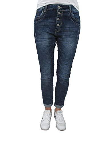 Karostar by Lexxury Denim Stretch Baggy Boyfriend Jeans Boyfriend 4 Knöpfe offene Knopfleiste weitere Farben Dark Denim 2XL 44