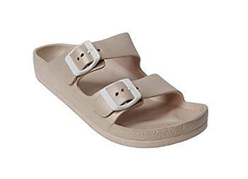 H2K Women s Lightweight Comfort Soft Slides EVA Adjustable Double Buckle Flat Sandals Buddy 9 B M US Nude