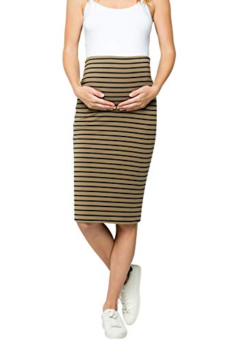 My Bump Maternity Skirt for Women - Comfort Stretch High Waisted Tummy Control Cotton Blend Midi Pencil Skirt Made in USA Olive Navy X-Large