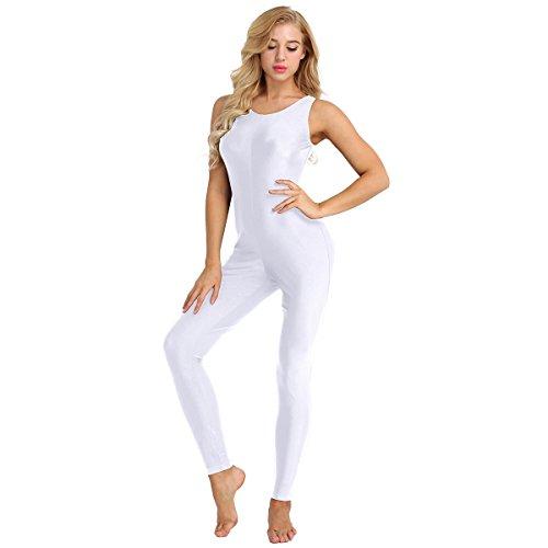 TiaoBug Mono de Danza para Mujer Maillots Conjunto de Gimnasia Ejercicios Traje Deportivo Bodysuit Unitard Elástico para Chicas Mujeres XL 2XL Blanco 2XL