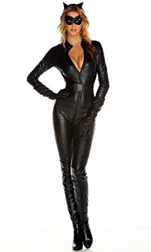 Forplay Fierce Feline Ears, Mas, Jumpsuit, Belt, Gloves, Black, Large/X-Large