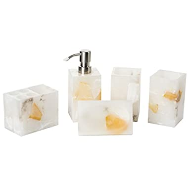 Aimone Bathroom Accessories Set, 5-Piece Bath Ensemble, Bath Decor Features Soap Dispenser Pump, Toothbrush Holder, Tumblers, Soap Dish, Handmade Natural Yellow Marble Stone