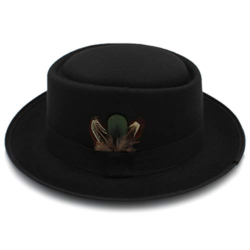 WANGJUN Klassische Wollfilz Black Pork Pie Hut Porkpie Jazz Fedora Hut Round Top Cap geizig Krempe Federkappe (Color : Black, Size : 56-58cm)