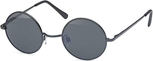 Balinco Sonnenbrille mit runden Gläsern und schmalem Metall Gestell, Bügel mit Federscharnier (Black-Smoke)