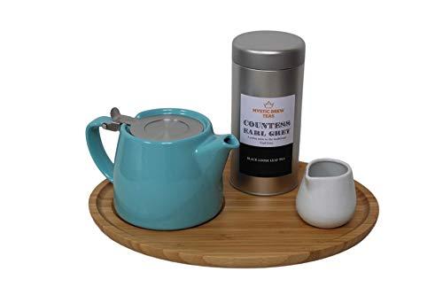 Forlife Tetera de hojas sueltas con infusor de 18 onzas turquesa, bandeja de bambú, crema y té místico, condesa Earl gris, 100 gramos