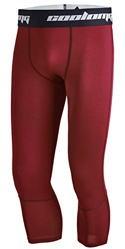 COOLOMG Boys Compression Pants Youth Basketball Tights Leggings Running Football Baselayer 3/4 Capri Wine Red XS