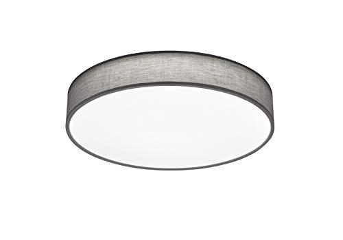 lightling modern LED-Deckenleuchte Chantal mit integriertem 40W LED Leuchtmittel (A+) und Fernbedienung (dimmbar und Lichtfarbe verstellbar), Stoffschirm grau, ø 60 cm, Höhe: 10 cm