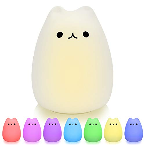 Night Light for Kids,Wenscha LED Cute Silicone Cat Lamp, Warm White or 7 Colour LED Fairy Lights Children Kids Bedside Lights, USB Rechargeable Touch-Control, Ideal Gift Baby Bedroom Nursery