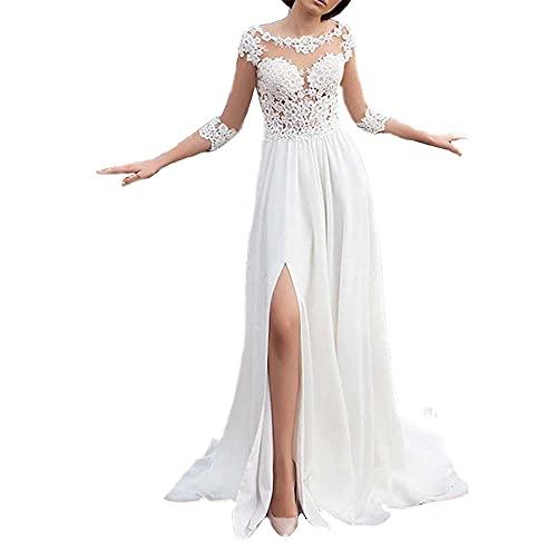 yhfshop Vestido de Noche Apliques Tul,Vestido de Noche de Fiesta de Encaje Sexy Largo Temperamento-White_52,Ceremonia Fiesta Boda Vestidos