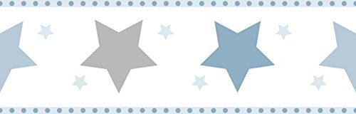 Dandino Bordüre für Kinder mit Sternen, Blau